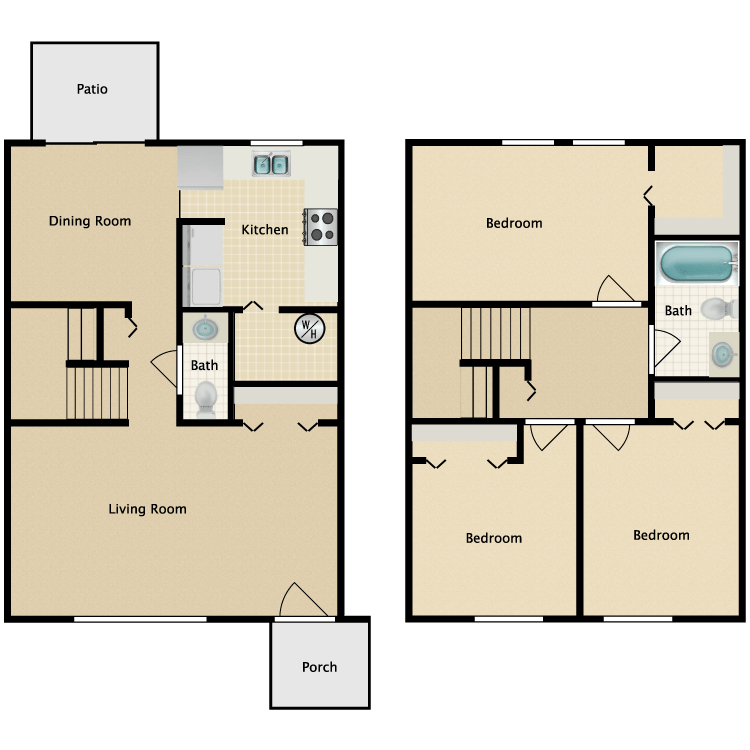 Floor plan image of 3 Bed 1.5 Bath Th