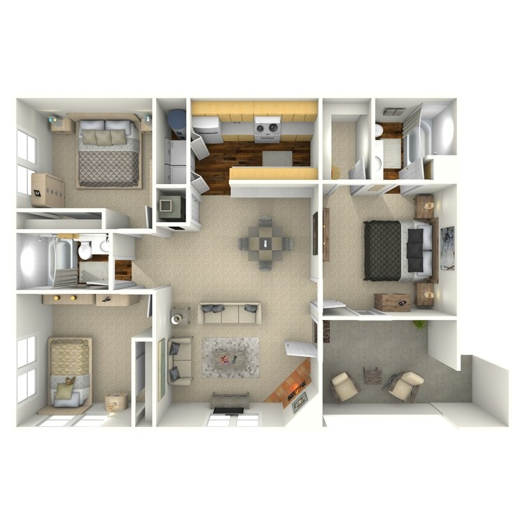 Floor plan image of Three Bedroom Two Bath
