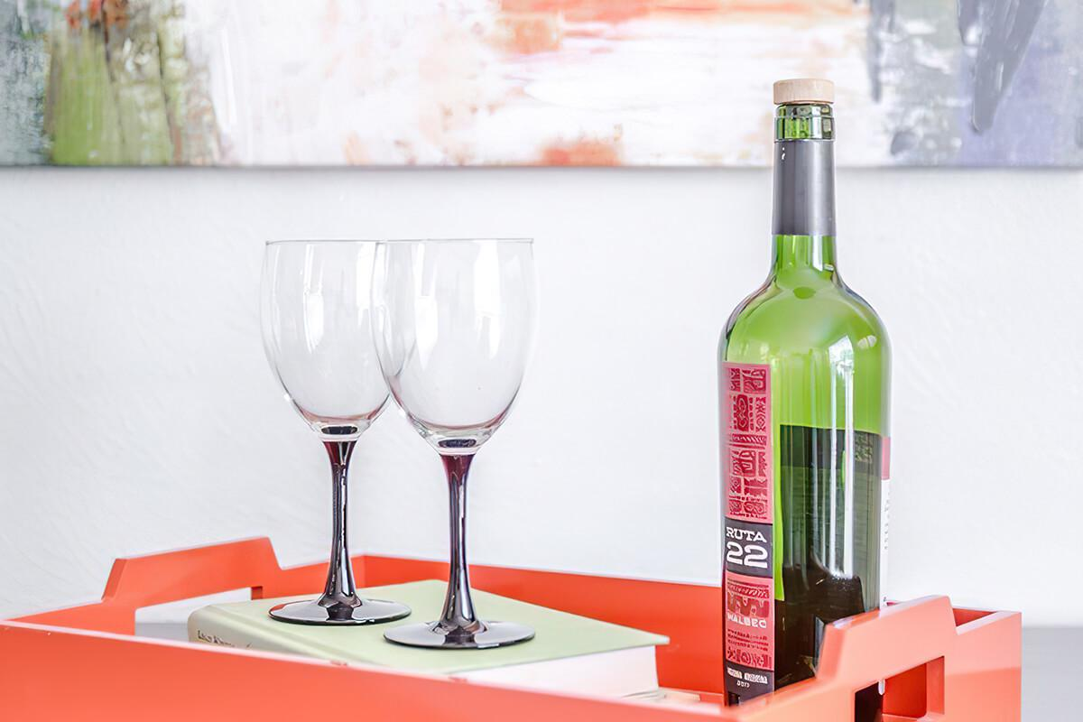 a bottle of wine on a table