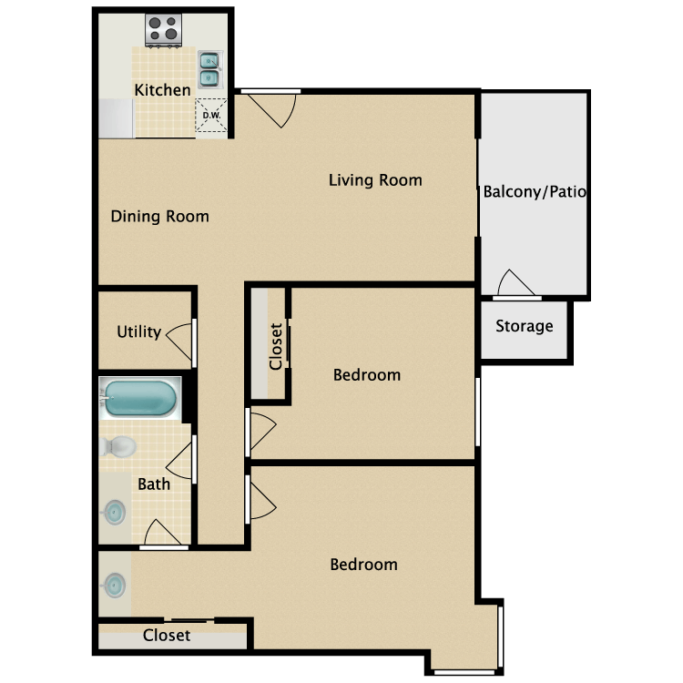 Floor plan image of Two Bedroom One Bath B