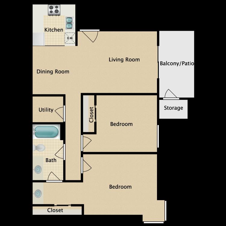 Floor plan image of Two Bedroom One Bath B1 Garden Home