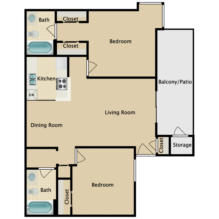 Floor plan image of Two Bedroom Two Bath B2