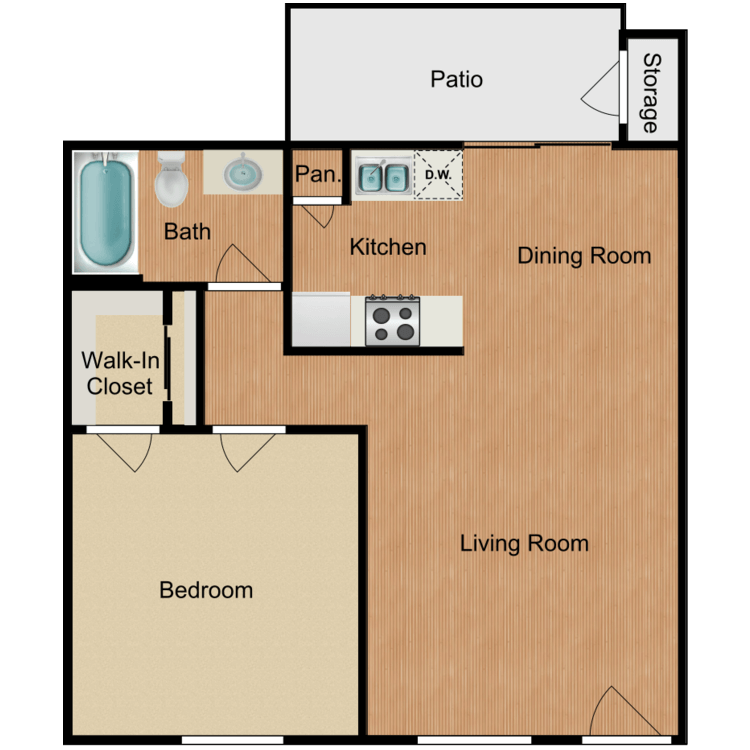 Floor plan image of 1 Bedroom II