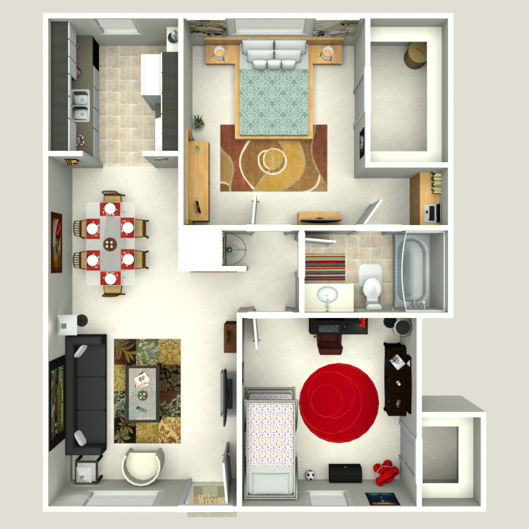 Floor plan image of 2 Bed 1.5 Bath Flat