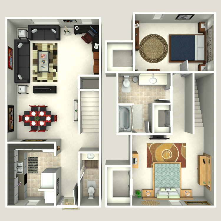 Floor plan image of 2 Bed 1.5 Bath Th A