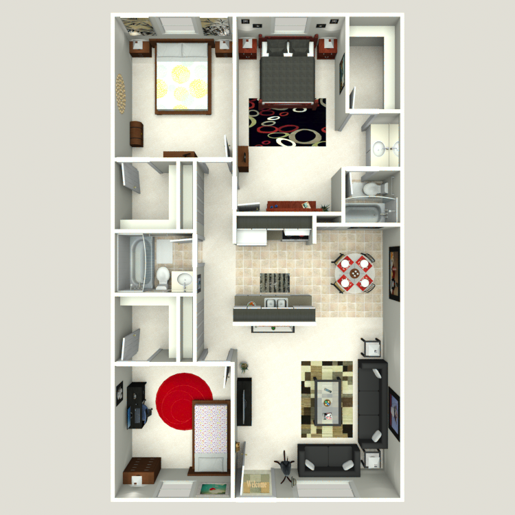 Floor plan image of 3 Bed 2 Bath Flat A