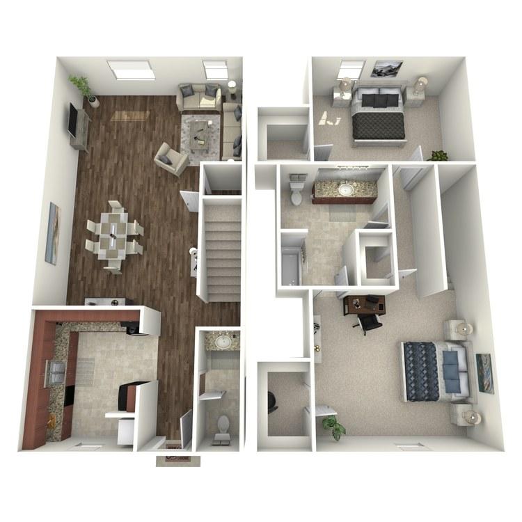Floor plan image of 2 Bed 1.5 Bath Th A