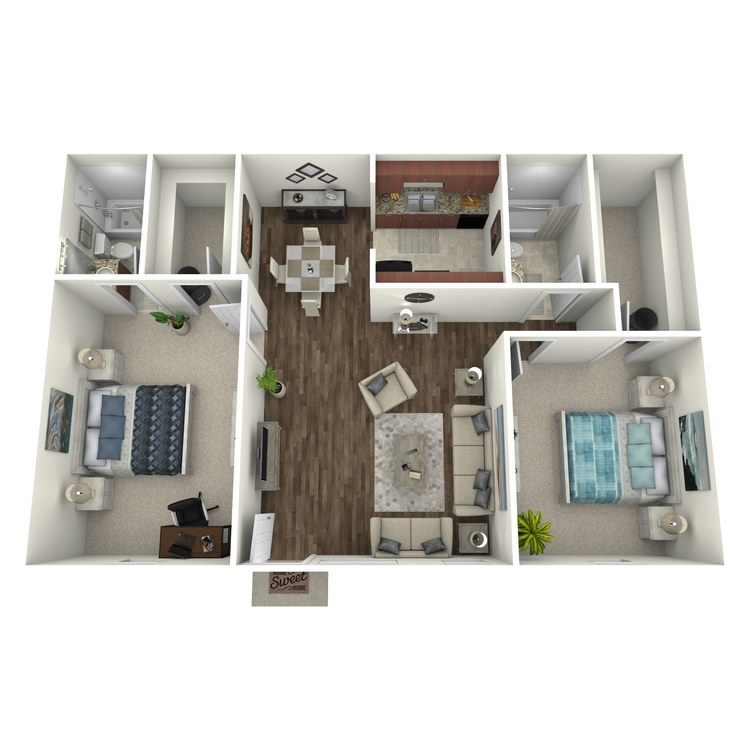 Floor plan image of 2 Bed 2 Bath Flat B