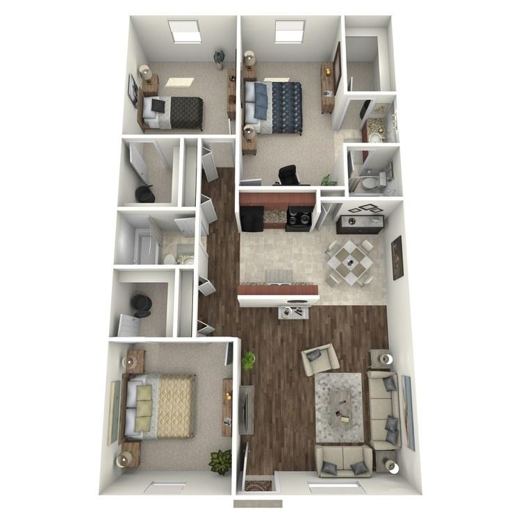 Floor plan image of 3 Bed 2 Bath Flat B