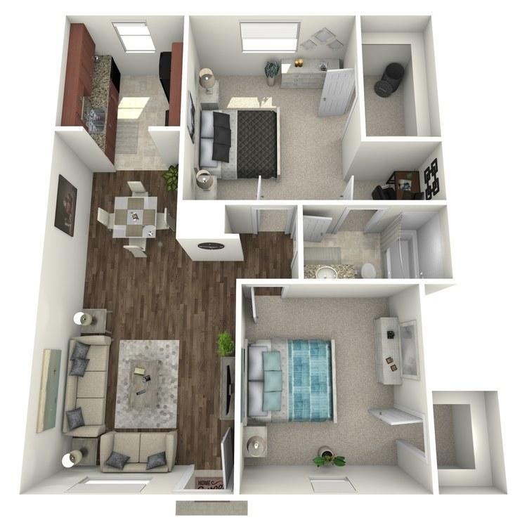 Floor plan image of 2 Bed 1.5 Bath Flat A