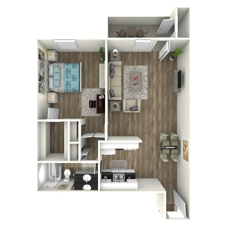 Floor plan image of 1x1C