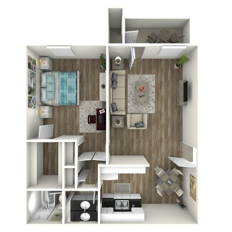 Floor plan image of 1x1B