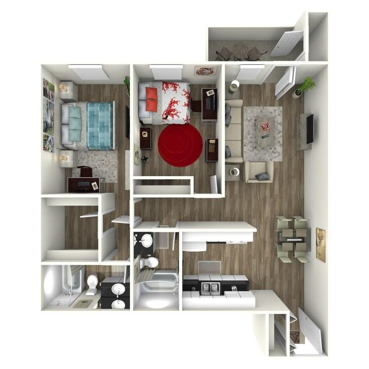 Floor plan image of 2x2 - Per Bedroom