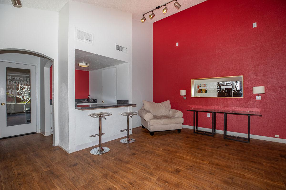 a room with red floor