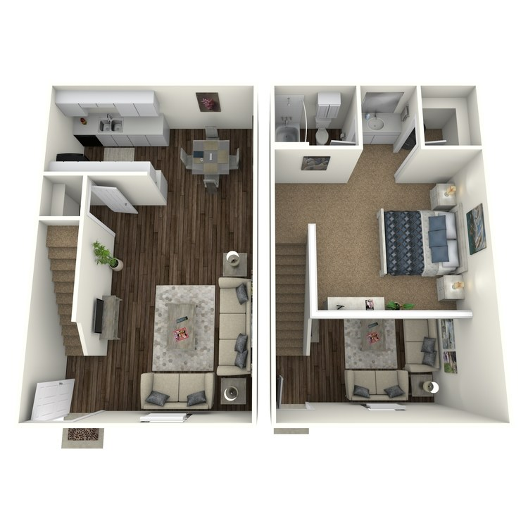 Floor plan image of 1 Bed 1 Bath Townhome