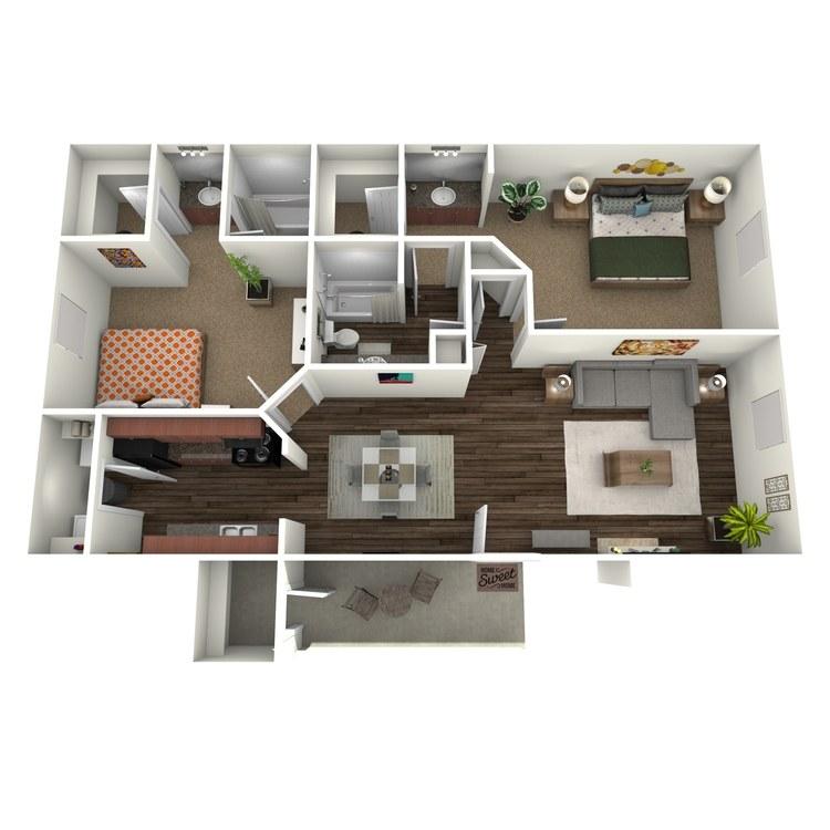 Floor plan image of 2 Bed 2 Bath D