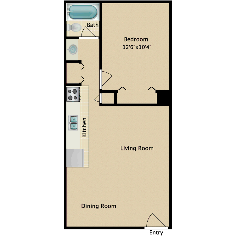 One Bedroom floor plan image