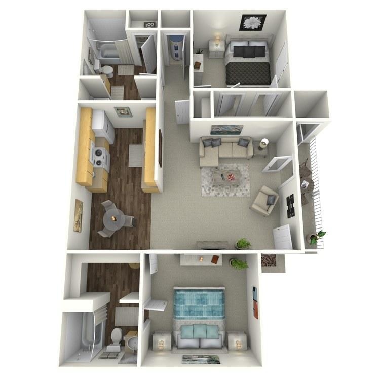 Floor plan image of Two Bedroom Villa