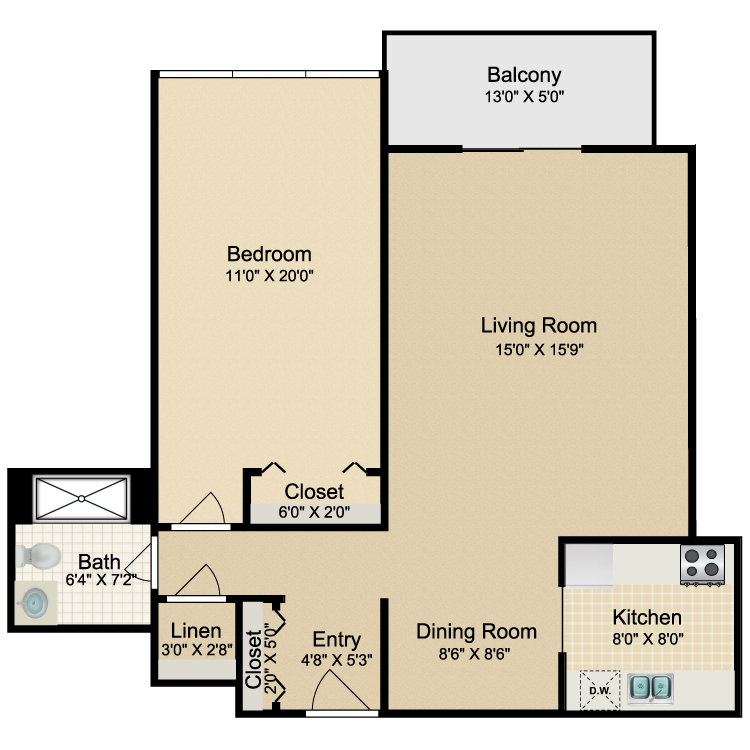 Floor plan image of 1 Bed 1 Bath Modified