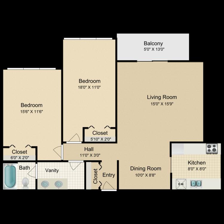 Floor plan image of 2 Bed 1 Bath Center