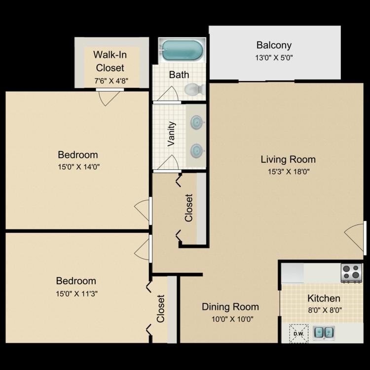 Floor plan image of 2 Bed 1 Bath Corner