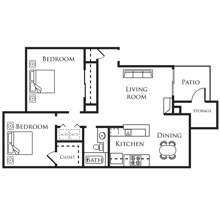 Floor plan image of B - 2 Bed 1 Bath