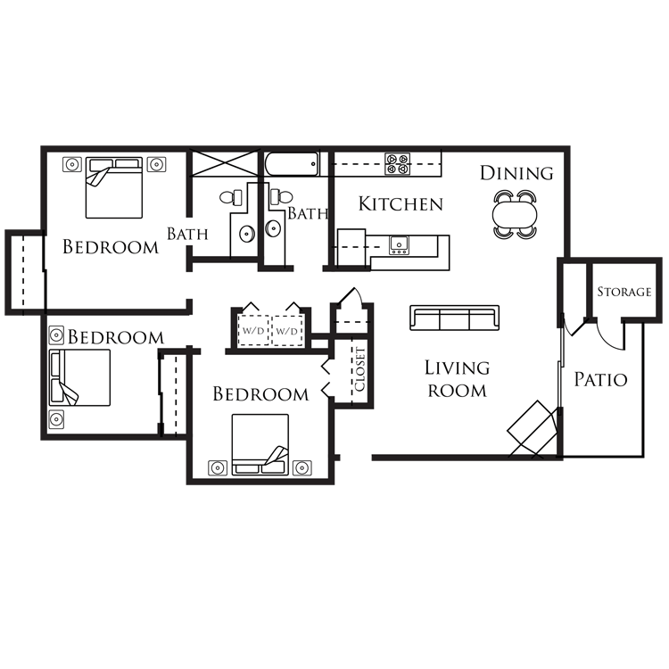 Floor plan image of D - 3 Bed 2 Bath