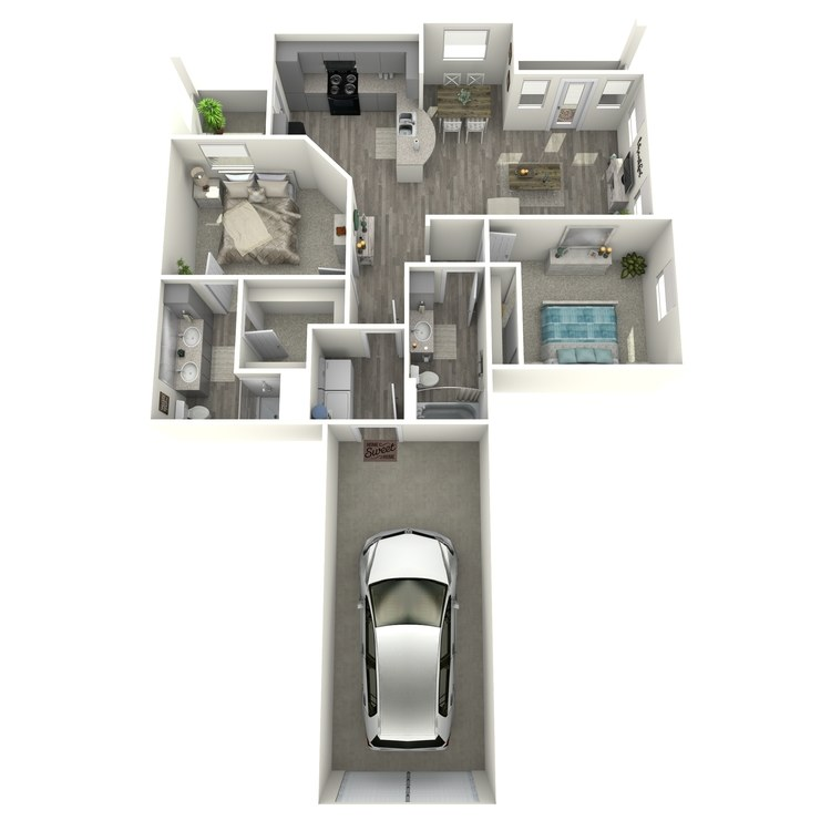 Floor plan image of 2 Bed 2 Bath B2-L