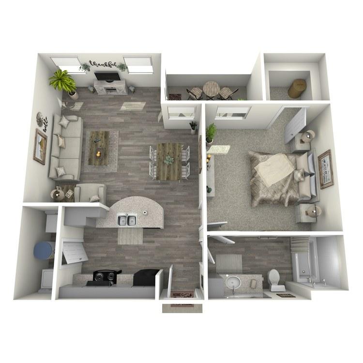 Floor plan image of 1 Bed 1 Bath A1-L