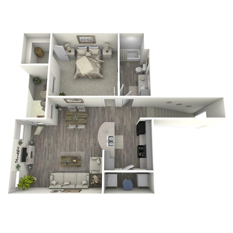 Floor plan image of 1 Bed 1 Bath A1-U