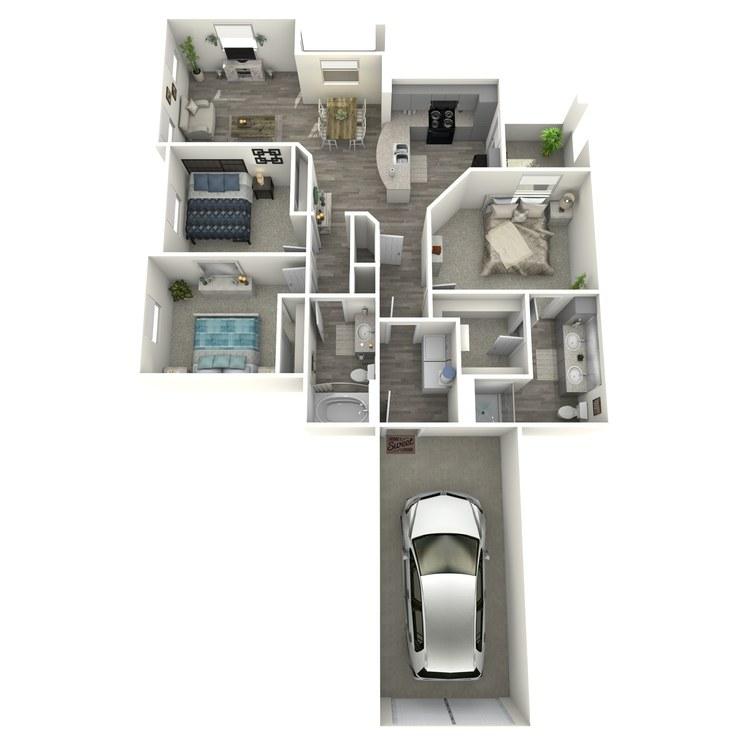Floor plan image of 3 Bed 2 Bath C1-L-ADA