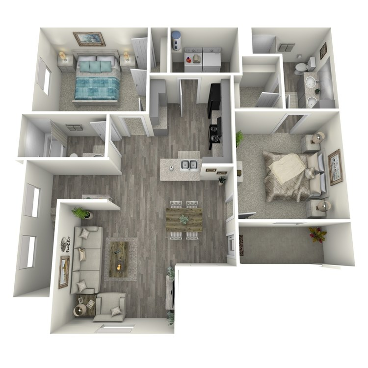 Floor plan image of 2 Bed 2 Bath B1-U