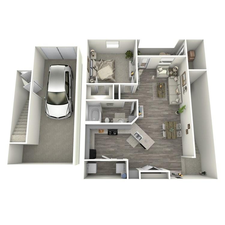 Floor plan image of 1 Bed 1 Bath A2-U