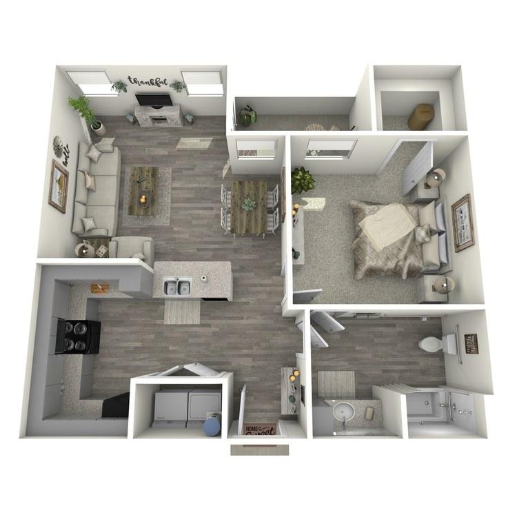 Floor plan image of 1 Bed 1 Bath A1-L-ADA