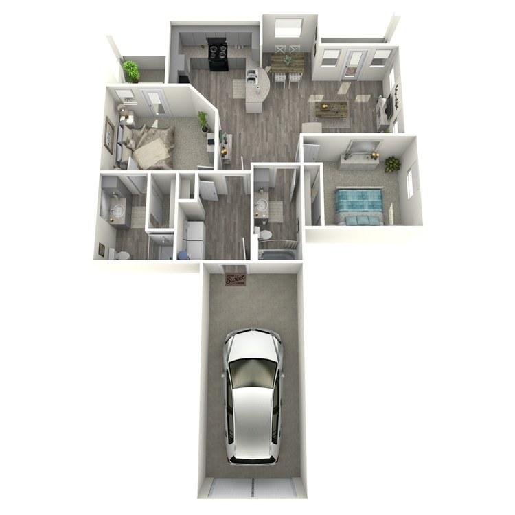Floor plan image of 2 Bed 2 Bath B2-L-ADA