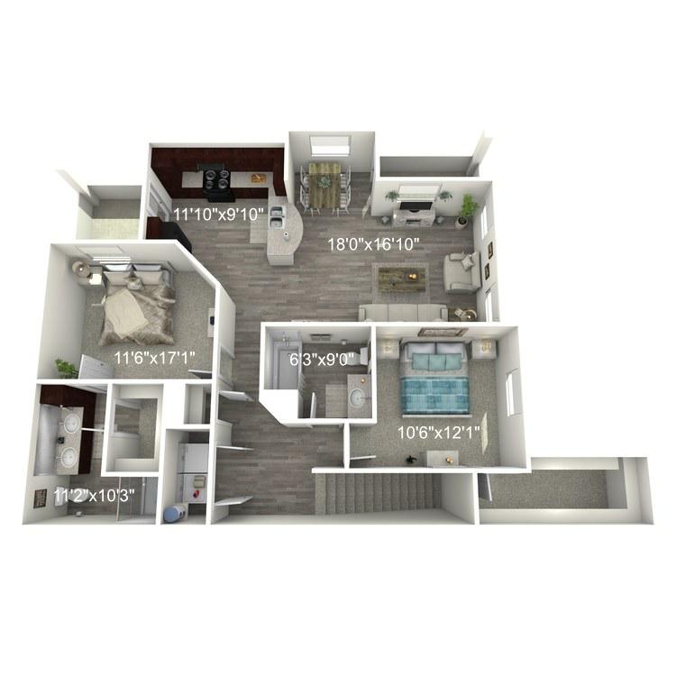 Floor plan image of 2 Bed 2 Bath B2-U