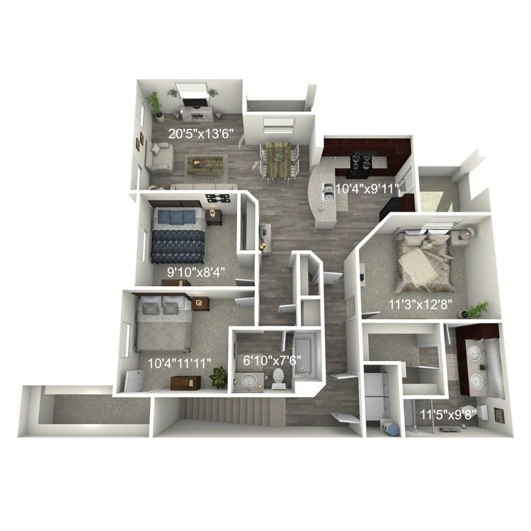 Floor plan image of 3 Bed 2 Bath C1-U