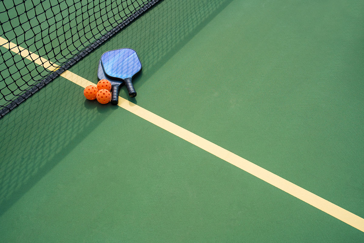 a table with a racket