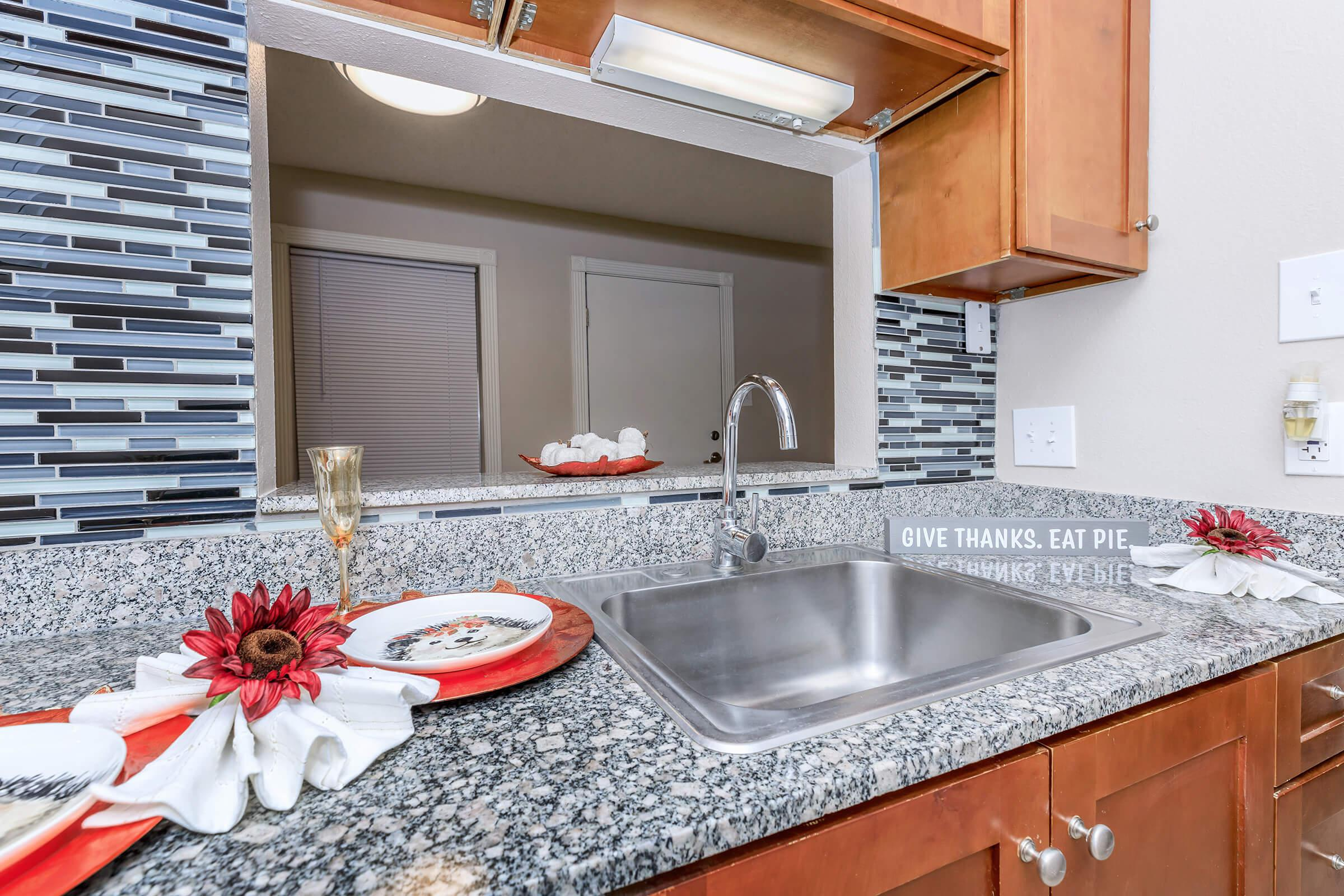 a kitchen with a sink and a counter