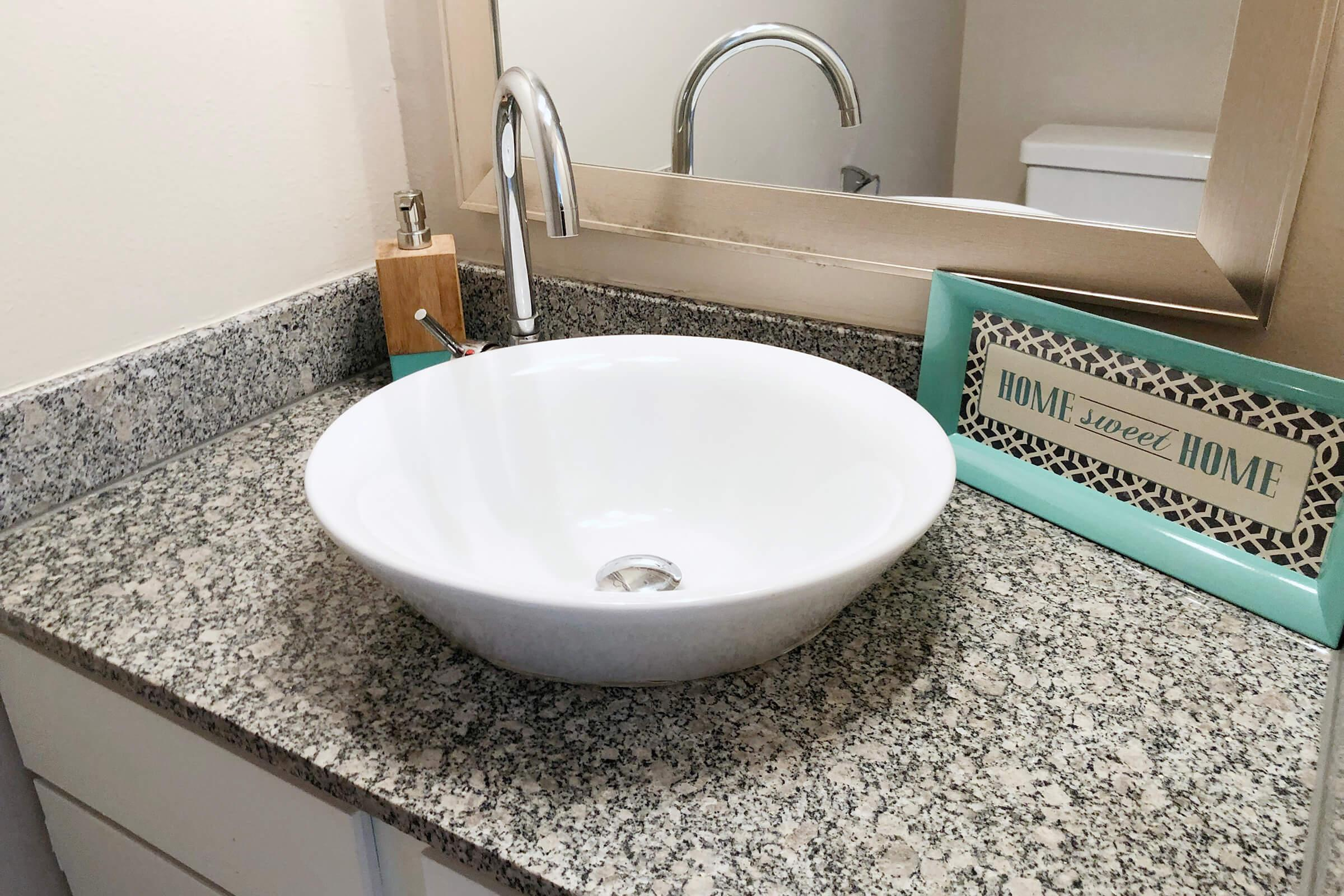 a close up of a bowl sink on a counter