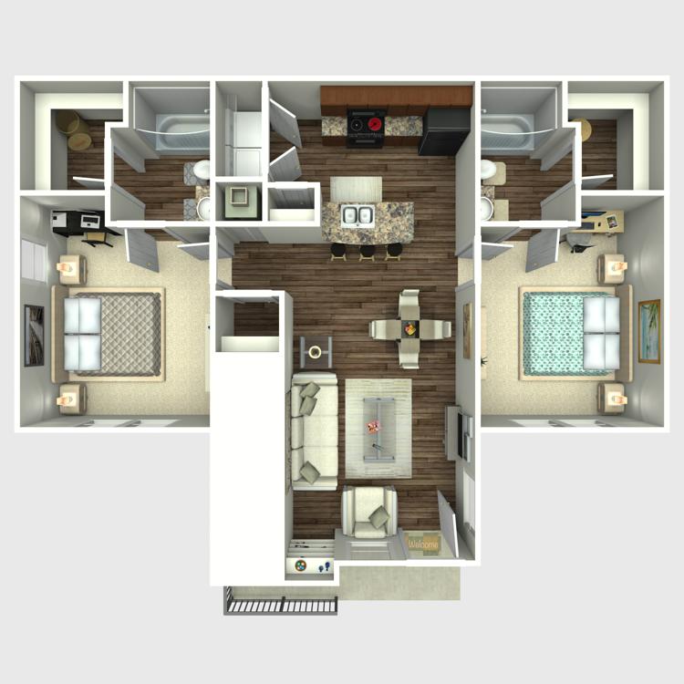 Floor plan image of 2 Bed 2 Bath Millennium on Post