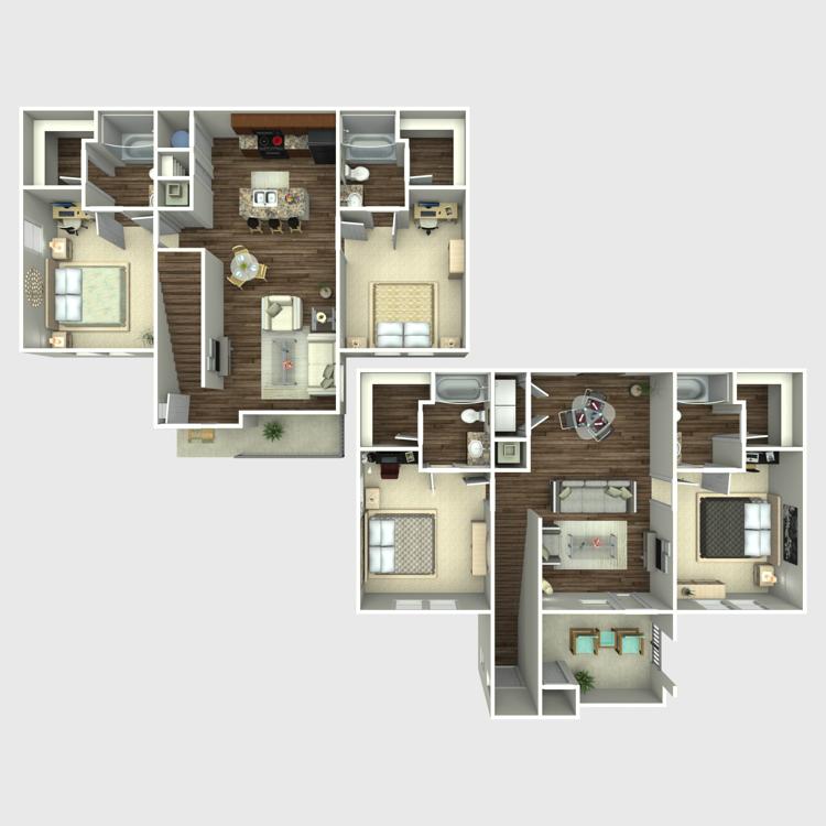 Floor plan image of 4 Bed 4 Bath Millennium on Post