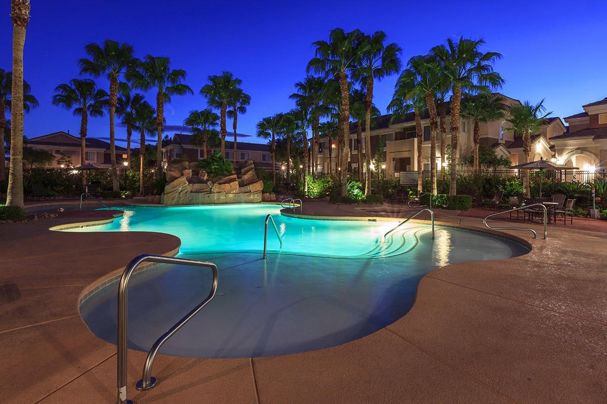 a group of palm trees next to a pool of water