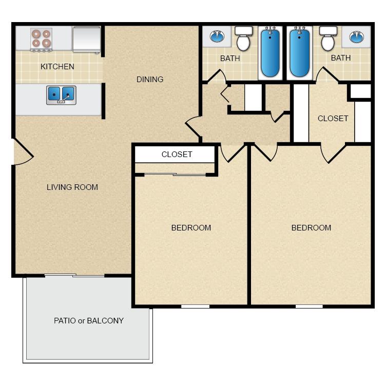 Floor plan image of 2 Bed 2 Bath 1000