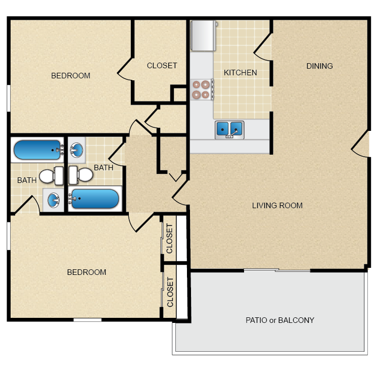 Floor plan image of 2 Bed 2 Bath 1150