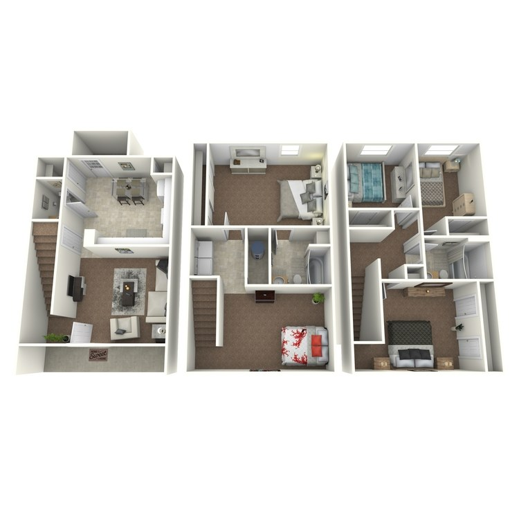 Floor plan image of 5 Bed 2.5 Bath Townhouse