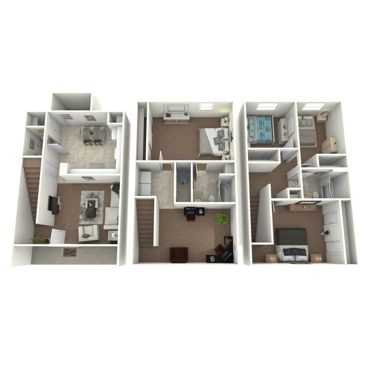 Floor plan image of 4 Bed 2.5 Bath Townhouse