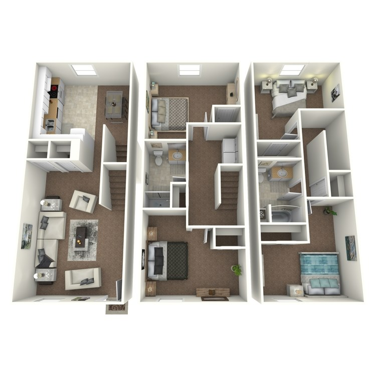 Floor plan image of 4 Bed 2 Bath Townhouse