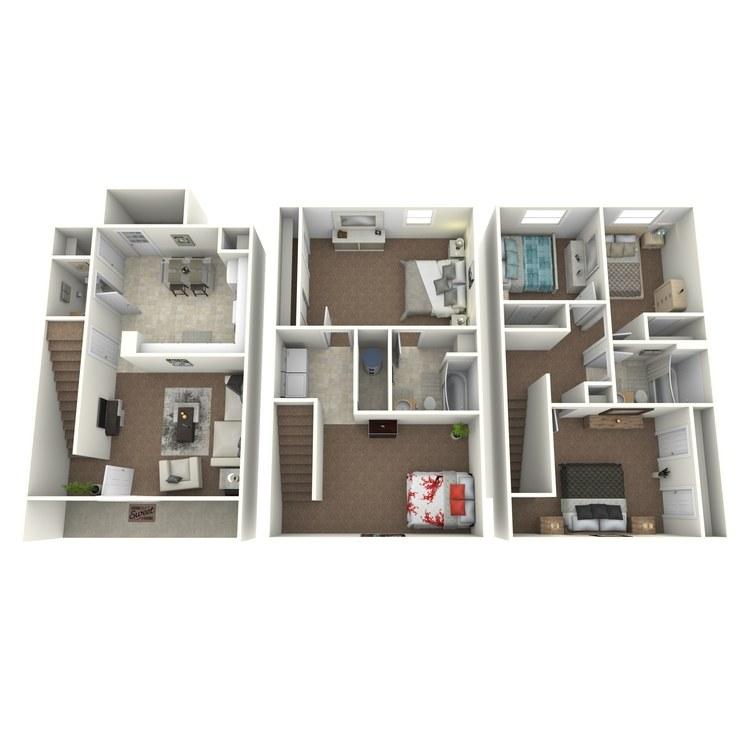 Floor plan image of 5 Bed 3 Bath Townhouse