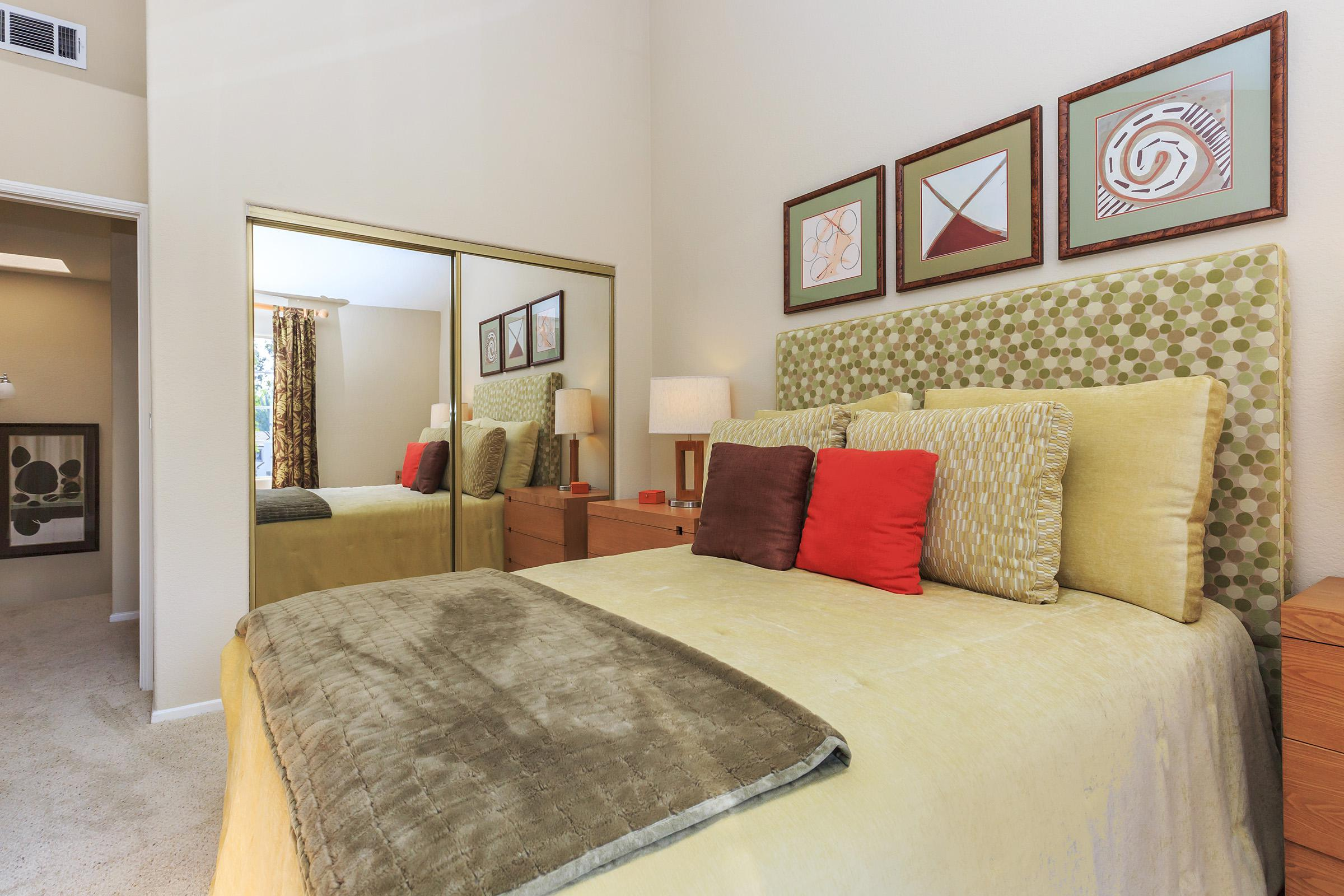 a double bed in a room